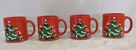 Set of 4 RED WAECHTERSBACH CHRISTMAS TREE Mugs Made in West GERMANY - $29.69