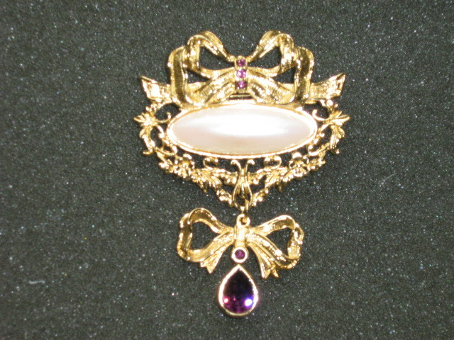 Primary image for Large Dressy Avon Brooch / Pin - Faux Pearl & Amethyst Rhinestones - 1995