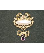 Large Dressy Avon Brooch / Pin - Faux Pearl & Amethyst Rhinestones - 1995 - $10.99
