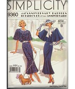 Uncut Size 6 – 12 1920s Town Dress Simplicity 9360 60th Anniversary Pattern - $6.99