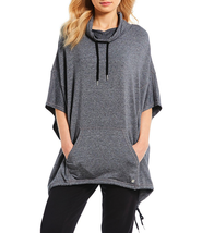 Calvin Klein Performance Women's Cowl Neck Knit Poncho Top, Black Heathe... - $52.79