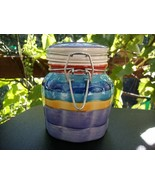 MULTI-COLORED CERAMIC KITCHEN CANISTER with GASKET - NICE! - $4.99