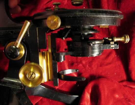 Antique Reichert Wien Brass Scientific Microscope 18298
