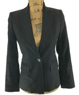 Banana Republic 0 XS Blazer Black Linen Bl 2 Pocket Lined Suit Jacket St... - $19.95