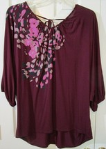 Elle Burgundy Abstract Floral Top Blouse, 1X, Great Condition! - $11.03