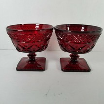 Vintage Rare 2 Wine Low Sherbet Imperial Glass Ruby Red Cape Cod  - $24.24