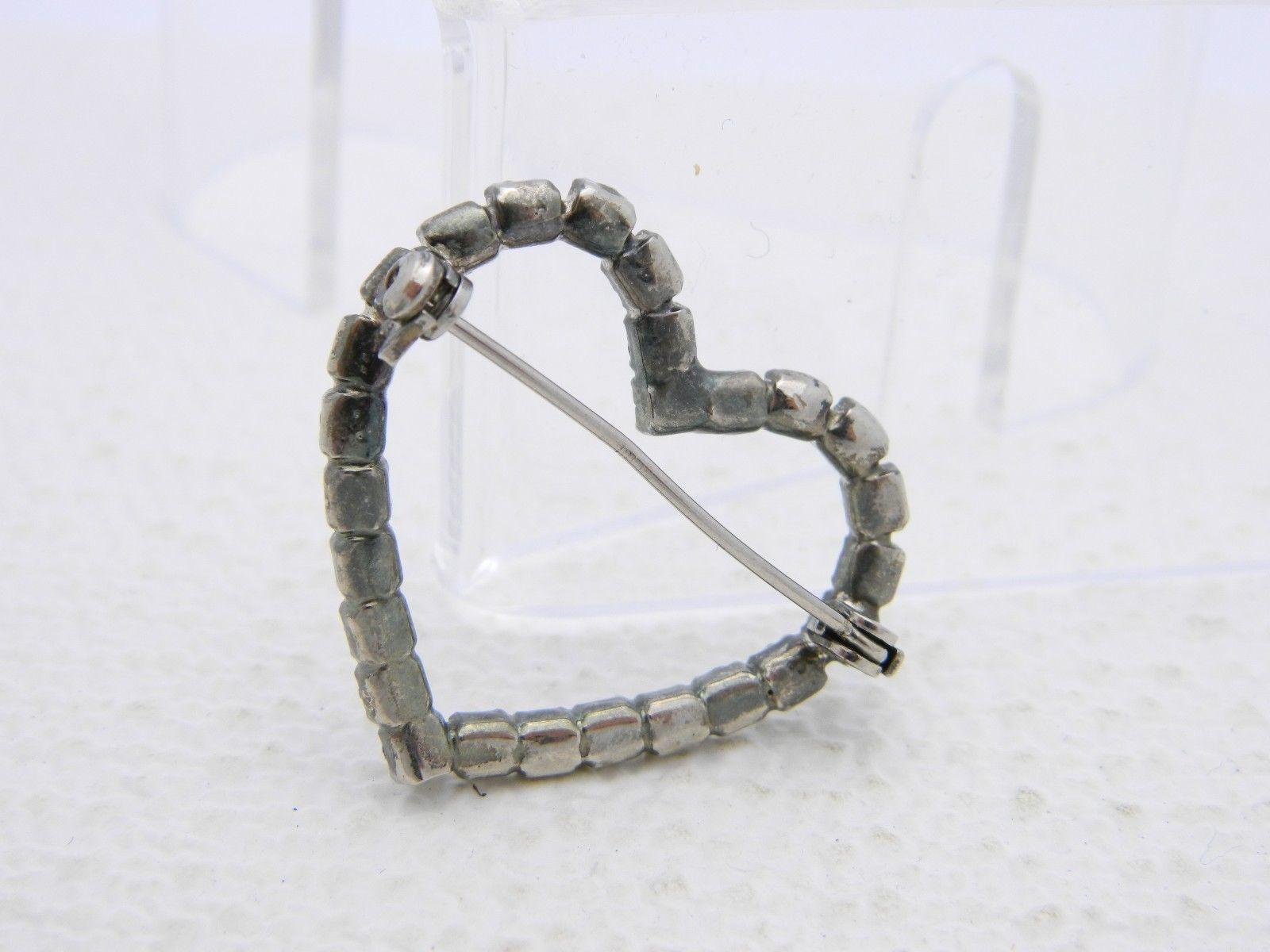 VTG Silver Tone Clear Rhinestone Heart Pin Brooch image 2