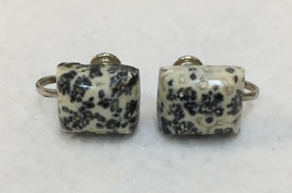 Screw Back Earrings Dendrite Moss Agate Polished Stone Square White Blue... - $34.64