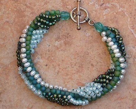 Woven Freshwater Pearl, Blue & Green Seed Bead Bracelet