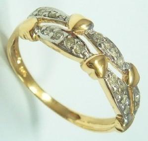 10k Y Gold 16 Diamond Ring 5 Hearts New