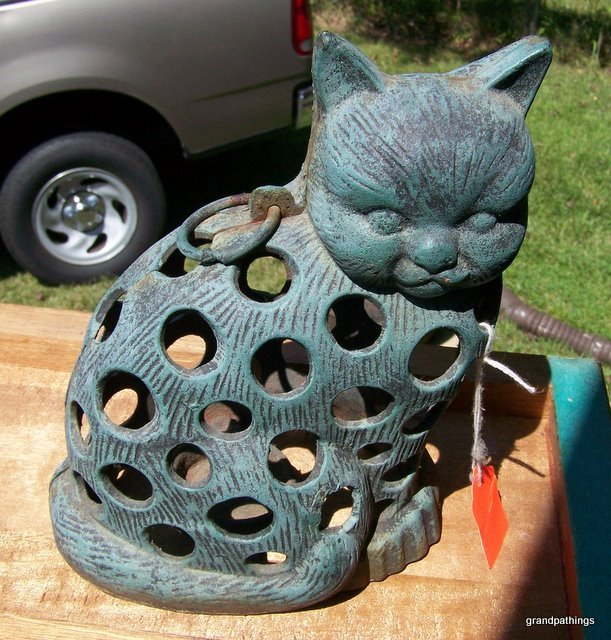 Antique Cast Iron Hanging Cat Candle Holder