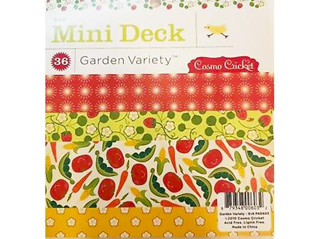 """Cosmo Cricket-Mini Deck Garden Variety Paper Pad-6""""x6"""" 36 Sheets"""