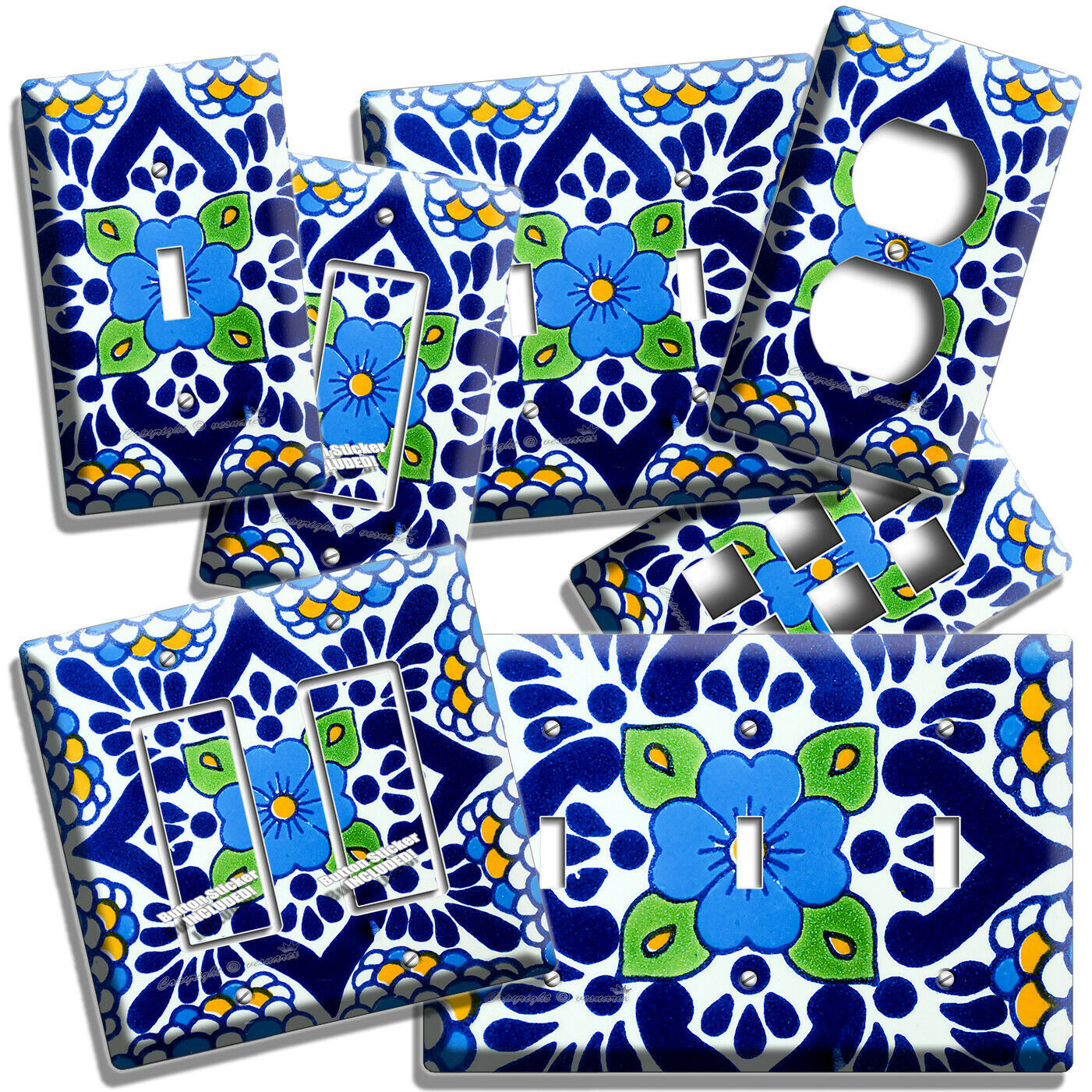 Primary image for MEXICAN TALAVERA TILE INSPIRED LIGHT SWITCH OUTLET PLATES KITCHEN FOLK ART DECOR