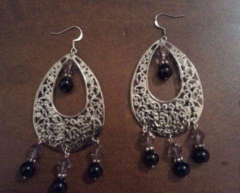 Black Pearl and Purple Crystal Chandelier Earrings