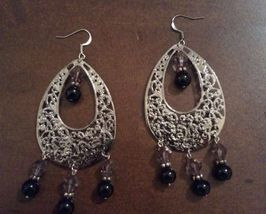 Black Pearl and Purple Crystal Chandelier Earrings - $7.00