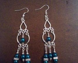 Silver and Jade Chandelier earrings - $10.00