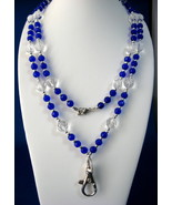 Cobalt Blue And Clear Glass Bead Lanyard Faceted 40 in long - $28.00