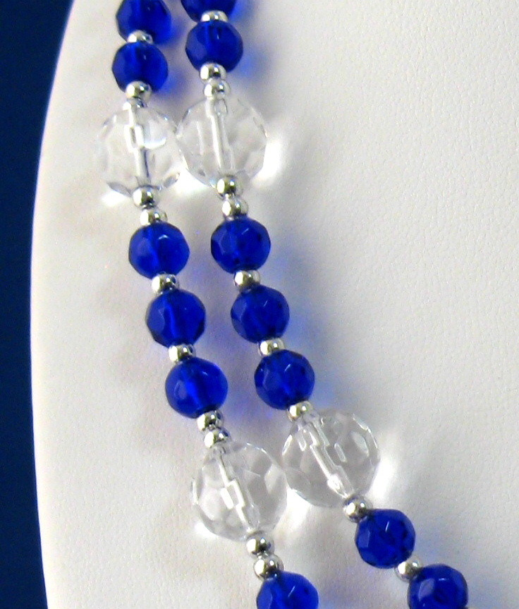 Cobalt Blue And Clear Glass Bead Lanyard Faceted 40 in long