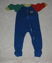 Vintage Oshkosh B'Gosh Toddler Primary Color Unisex Fleece Blanket Pajam... - $26.72