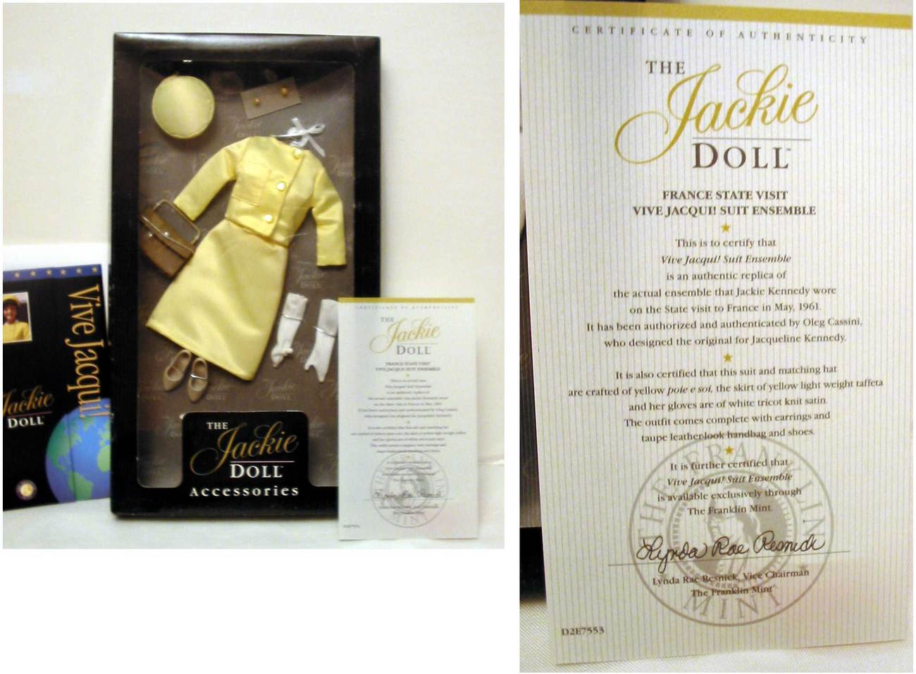 Franklin Mint Jackie Kennedy  Doll Yellow Suit Eensemble Franklin Mint