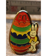 McDonalds Easter Bunny with Giant Egg Employee Collectible Pinback Pin B... - $9.15