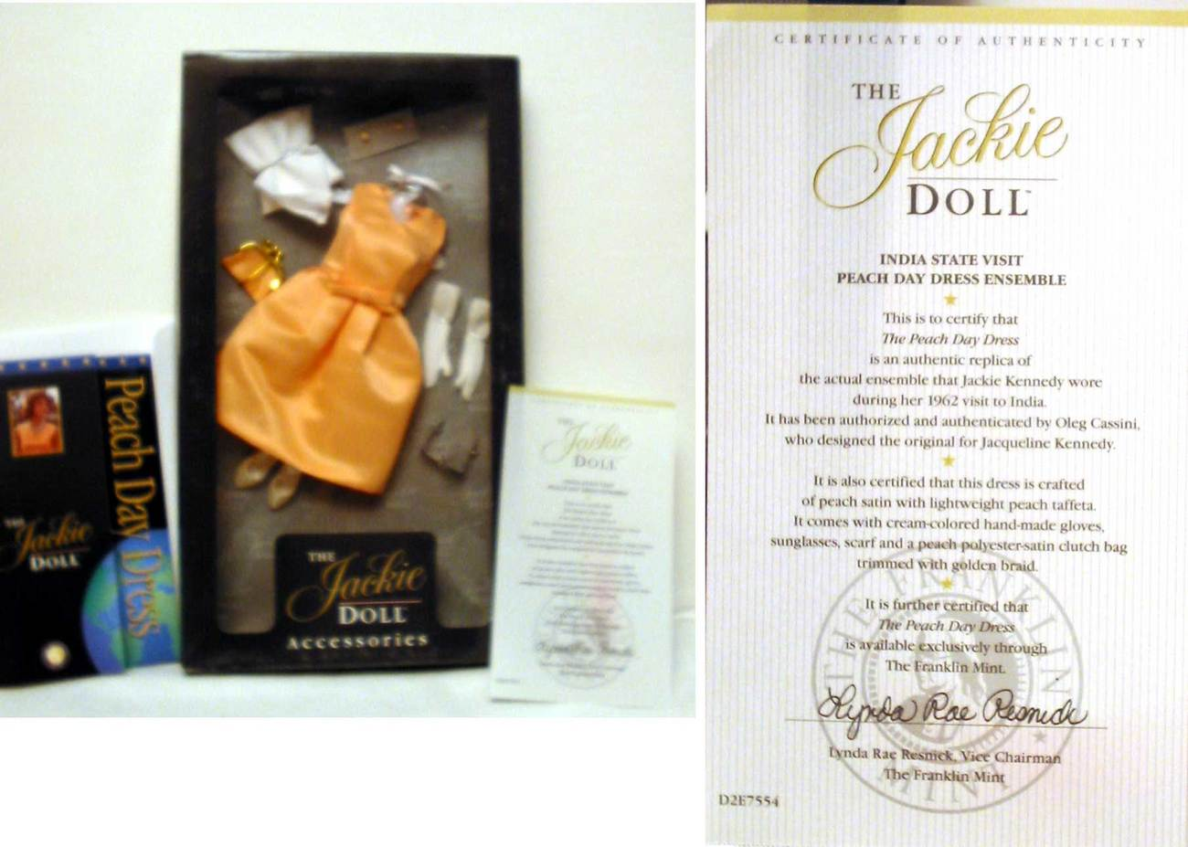 Franklin Mint Jackie Kennedy Doll Peach Day Dress  Eensemble Franklin Mint