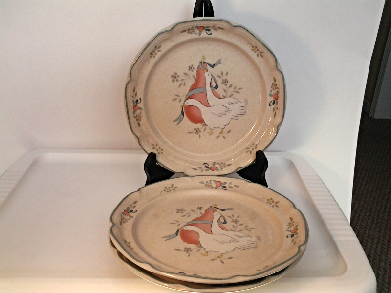 "Primary image for  International China  Marmalade (2) Salad Plates 7 5/8"" Geese & Fruit"