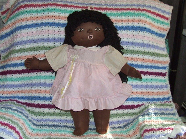 HandCrafted Black American Doll wearing Pink Dress & Passie 22 inches Tall Mt