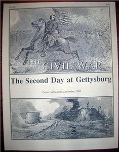 CIVIL WAR GETTYSBURG Century Magazine Article 1886