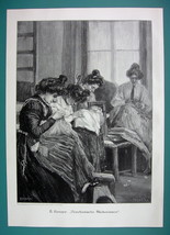 VENETIAN WOMEN Embroider Fabrics in Shop Italy - VICTORIAN Era Print - $16.20