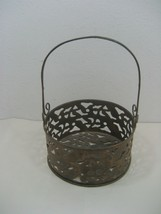Vintage Brass Basket Centerpiece Display Piece Intricate Cutout Details ... - $18.65