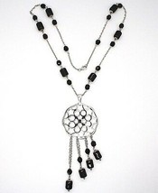 Silver 925 Necklace, Onyx Black Pipe, Locket & Stars Circles, Waterfall image 2