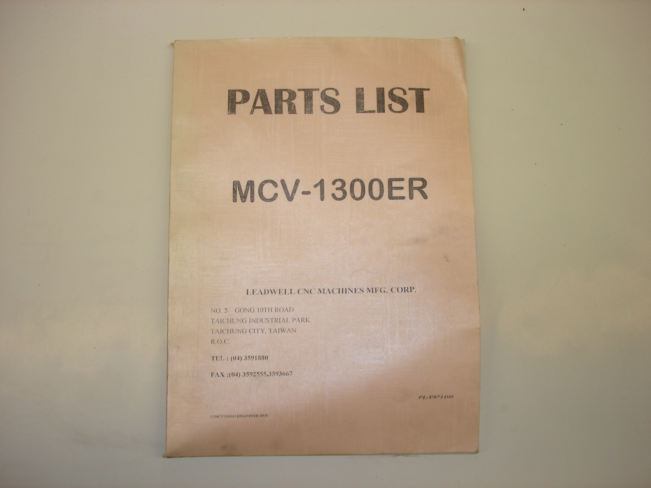 Leadwell Part List Manual for MCV-1300ER
