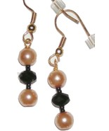 New Black Gold Glass Pearl Bead Gold Plated Earrings - $2.00