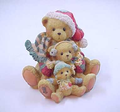 "Christmas Cherished Teddies ""Friendship Weathers All Storms"" Bear Figurine"