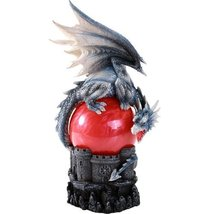 Guardian Dragon Perched On Red Sand Storm Ball Collectible Sound Activated - $44.55