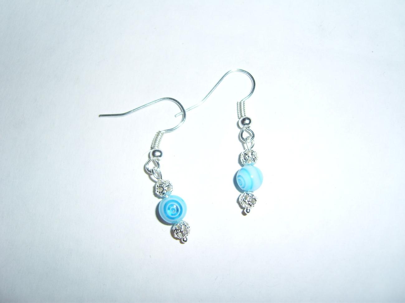 Handmade blue swirl millefiori beaded silver earrings