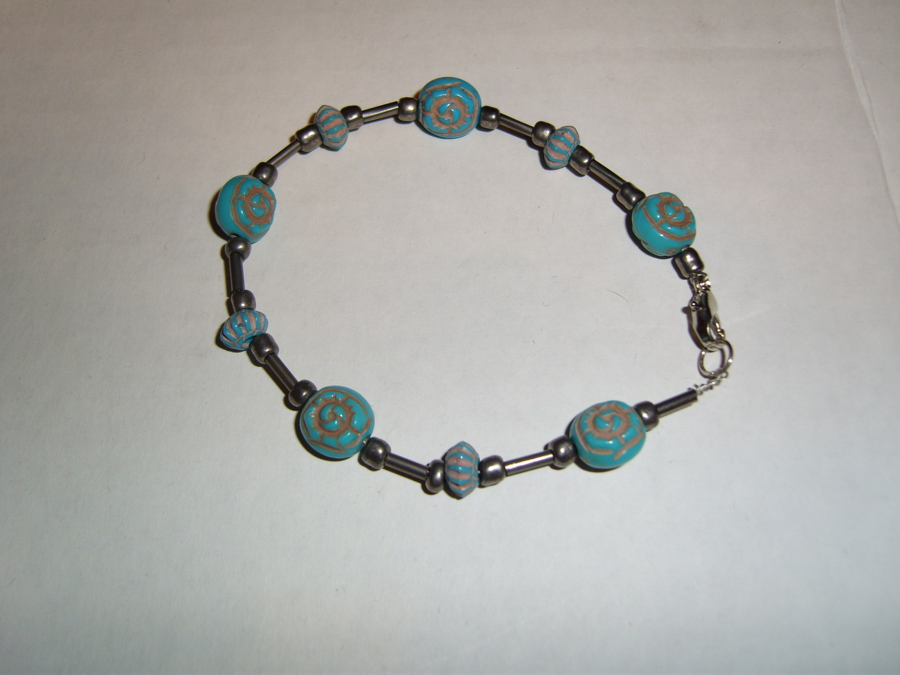 Handmade blue and steel beaded bracelet