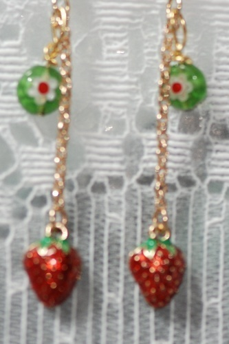 Strawberry Charm & Millefiore Dangling Earrings OOAK