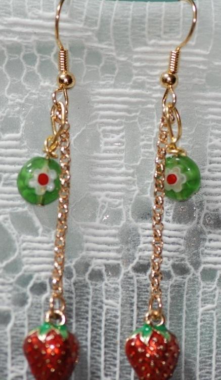 Strawberry Charm & Millefiore Dangling Earrings OOAK
