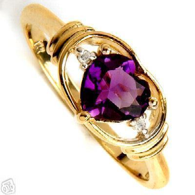 14k Gold 1 ct  Amethyst and Diamond Ring New