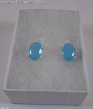 Oval Aqua Blue Glass Wire Earrings - $21.00