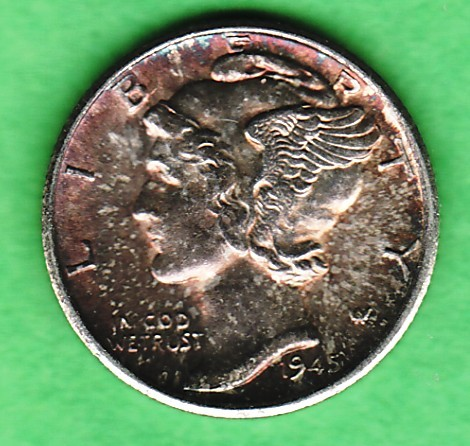 1945 S silver Mercury head dime