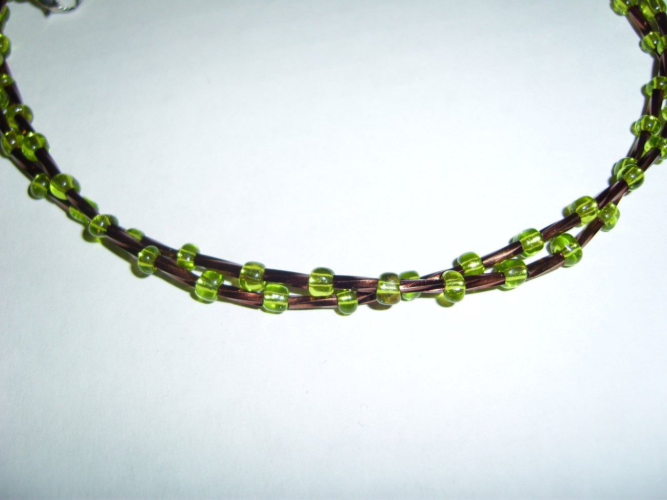 Handmade copper and green beaded twisted necklace