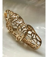 Estate Long Goldtone Mosaic Cut-out Knuckle Ring Size 6.5  -  2 and 5/8t... - $14.89