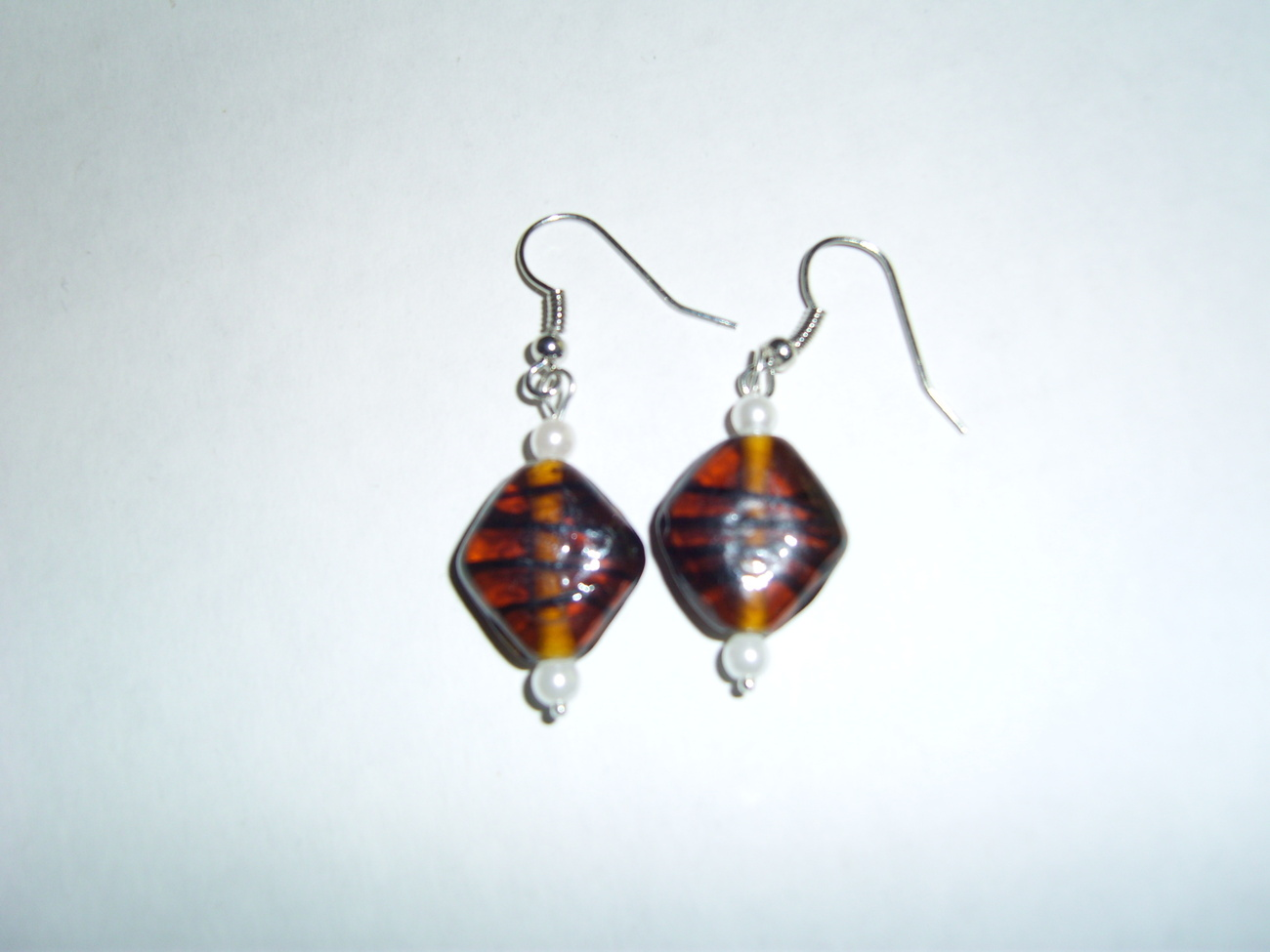 Handmade brown acrylic beaded earrings