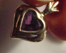 14k Gold Heart Pendant w Amethyst Heart - $59.00