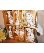 6 piece floral ceramic animal set new in box - $8.00