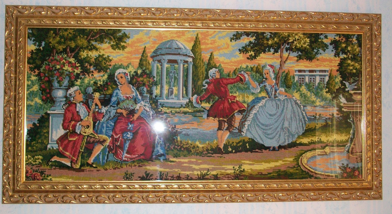 """Hand made, hand sewed Franch picture in gold wood frame 2"""" x"""