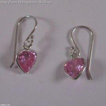 Pink CZ Heart Earrings on French Wire - $9.99